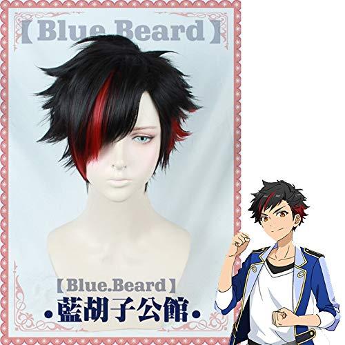 Anime Nagumo Tetora Cosplay Wig Ensemble Stars Black Red Short High Temperature Fiber Hair Halloween Party Costume Role Play Wig