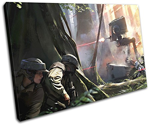 Bold Bloc Design - Star Wars Battlefront Gaming 135x90cm Single Canvas Art Print Box Framed Picture Wall Hanging - Hand Made in The UK - Framed and Ready to Hang