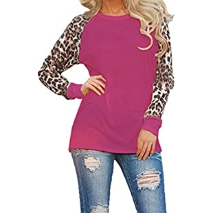 Weant Women Oversized Sweatshirt Leopard Pullover Sweatshirt Plus Size Tops Jumper Womens Sale Clearance Teen Girl Tunic Shirts Blouse (Purple, XL):Kisaran