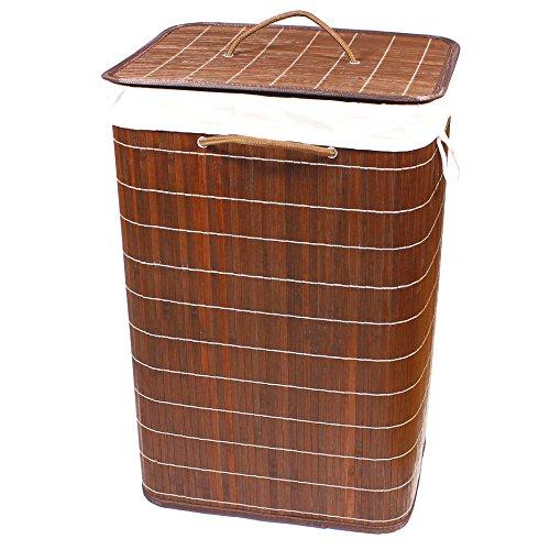 BigDean Bambus-Wäschekorb 72 Liter - aus echtem Bambus-Holz - Design dunkel-braun - ideal zur Ordnung & Aufbewahrung