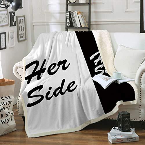 MegOK His & Her Side Sherpa-Decke für Paare Klassische Plüschdecke Betten Werfen Reise-Bettwäsche-auf dem Schwarzen, 150cmx200cm