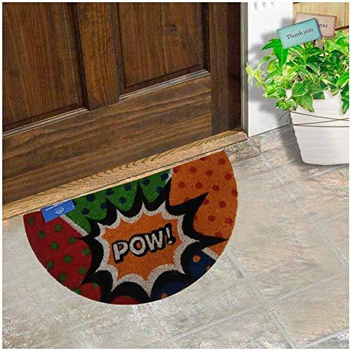 Felpudo para Puerta de Casa de Fibra de Coco Estampado de 15 mm Antideslizante, Diseño Pow Naranja Forma SemiLuna 30x55