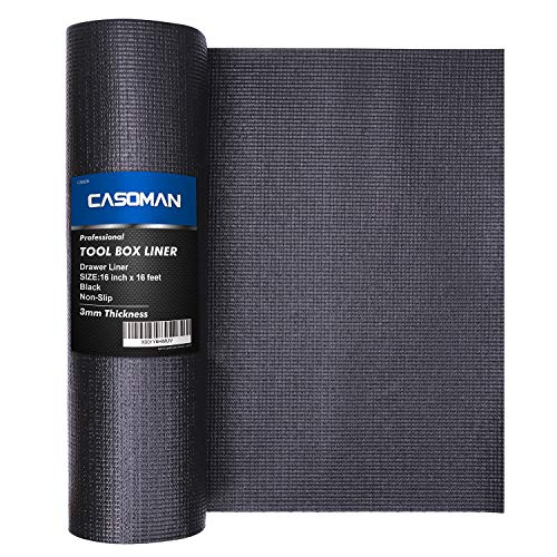 CASOMAN Professional Tool Box Liner and Drawer Liner,Easy Cut Non-Slip Foam Rubber Toolbox Drawer Liner Mat - Adjustable Thick Cabinet Liners,Black,16 inch (Wide) x 16 feet (Long)