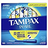 Tampax Pearl Tampons Regular Absorbency with BPA-Free Plastic Applicator and LeakGuard Braid,...
