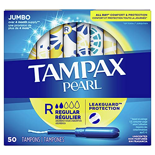Tampax Pearl Tampons Regular Absorbency with LeakGuard Braid, Unscented, 50 Count