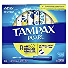 Tampax Pearl Tampons with Plastic Applicator, Regular Absorbency, 50 Count, Pack of 4 (200 Count Total)