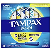 Tampax Pearl Tampons with Plastic Applicator, Regular Absorbency, 50 Count (Pack of 4)
