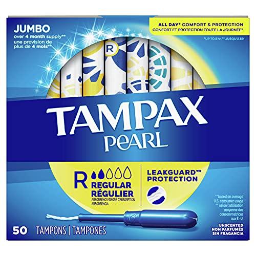 Tampax Pearl Tampons Regular Absorbency with BPA-Free Plastic...