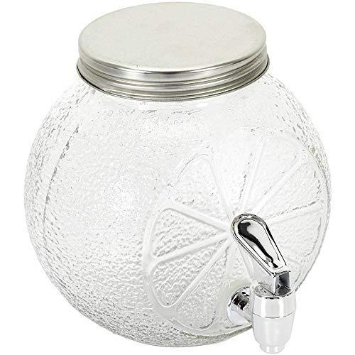 Home Deco Factory KA4771 Fontaine à boisson Distributeur avec robinet et couvercle Citron Transparent Verre 1,5L H16 x 15,5 x 15,5 cm