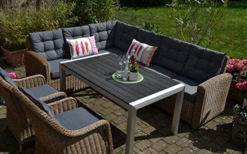 Ecklounge Manhattan in Naturbraun I 5-teilige Garnitur I Rattan-Sessel Set bestehend aus 2 Sessel, Ecksofa in braun und Polstern in Grau und Miami Tisch I Garten + Terrasse + Wintergarten