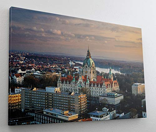Hannover City Skyline Leinwand Canvas Bild Wandbild Kunstdruck L1474 Größe 70 cm x 50 cm