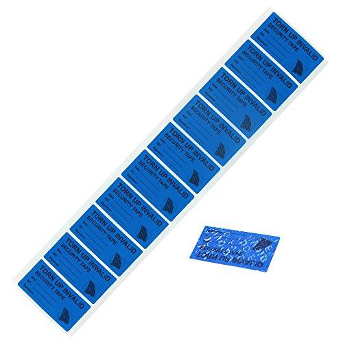 """100pcs etiquetas de seguridad evidentes antimanipulación, seguridad de andador solitario Prevenir las etiquetas vacías de garantía (1\""""x2\"""" marcado en cinta 100 piezas azul)"""