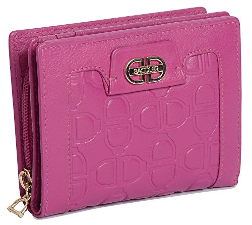 SADDLER Bifold Leder-Brieftasche mit Monogramm, mit 3-Wege-Reissverschluss Geldboerse auf der Rueckseite -