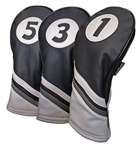 Majek Golf Headcovers Black and White Leather Style 1, 3, 5 Driver and Fairway Head Covers Fits 460cc Drivers