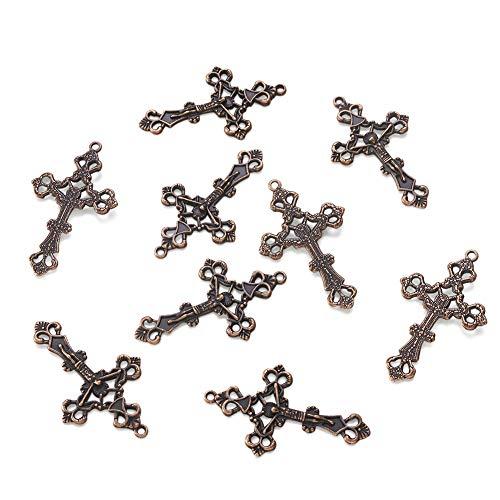 PandaHall Rosario tibetano cruz encantos para rosario collar joyería, Metal,