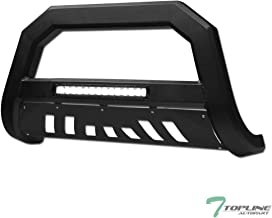 Topline Autopart Matte Black AVT Style Aluminum LED Light Bull Bar Brush Push Front Bumper Grill Grille Guard With Skid Plate For 01-04 Nissan Frontier / 02-04 Xterra