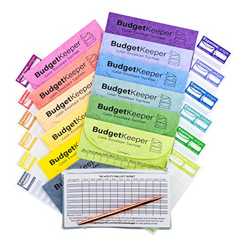 Cash Envelope System-Budget Envelopes-Budget Keeper-12 Assorted Colors-Tear and Water Resistant-12 Expense Ledgers , Pen, Zipper Case Included