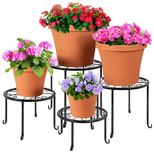 Best Choice Products Set of 4 Indoor Outdoor Metal Nesting Plant Stands, Flowerpot Holder Display Rack for Home & Garden Décor w/Starburst Design