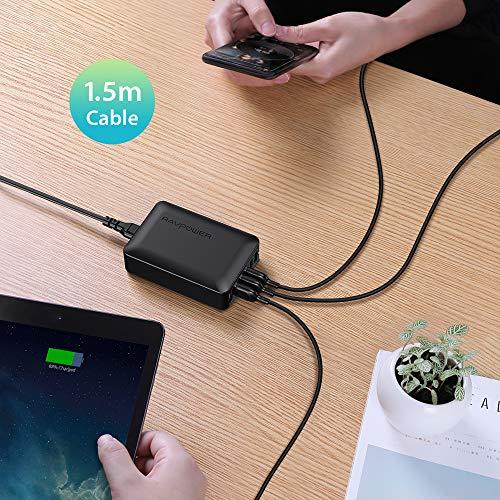 RAVPower Quick Charge 3.0 USB Ladegerät Schnellladegerät, 6-Port 60W USB Ladestation für iPhone 12/11 Pro Max XS Max XR X 8 7 6 Plus, iPad, Galaxy S9 S8 Plus, Huawei, LG, HTC, Smartphones, Tablet...