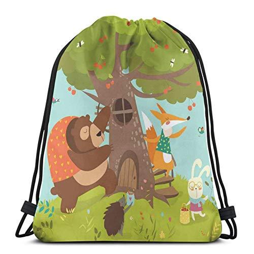 Animal Group Harvesting Cherries Bear And Bunny Summer Activity Nursery Cartoon,Gym Drawstring Bags Backpack String Bag Sport Sackpack Gifts For Men & Women