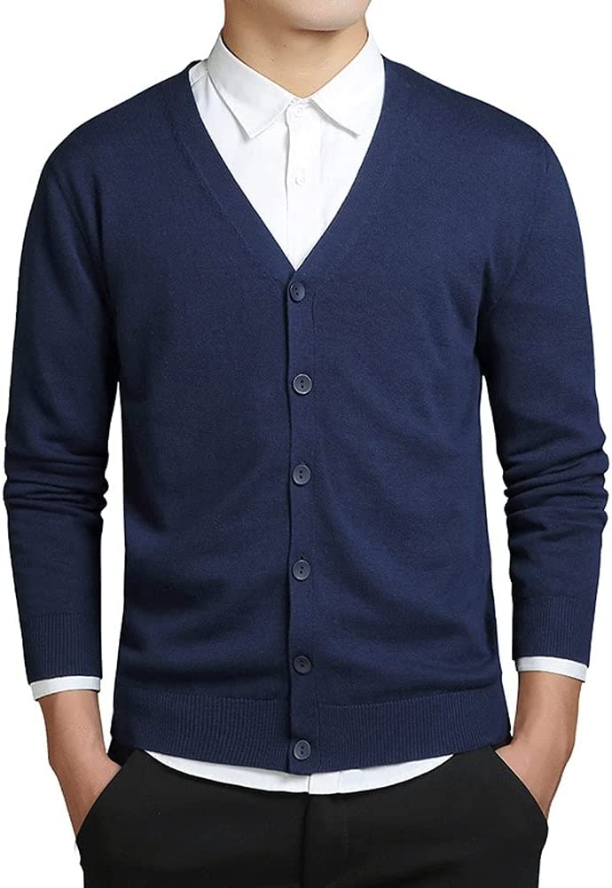 UXZDX CUJUX Spring Long Sleeve Cardigan Men Knitted Oversized Slim Cotton Sweaters Casual Knitwear (Color : Blue, Size : L Code)