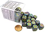 Chessex Festive 12mm D6 Dice Block (36 Dice) -Mosaic with Yellow Pips