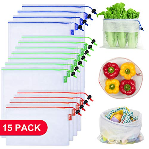 BVN Reusable Produce Bags, 15 Pcs Extra Strong, Barcode Scannable, See Through, Washable Mesh Bags with Drawstring, 4 Small 7 Medium & 4 Large, White
