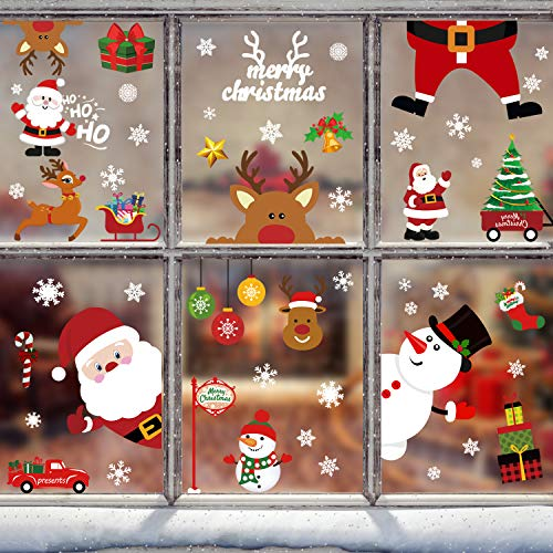 Tifeson Christmas Window Clings Holiday Decorations - 79 PCS Xmas Snowflake Window Sticker - Santa Claus Snowman Window Decals for Christmas Party