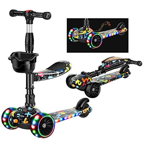 Ygqtbc 2 en 1 Vespa for Niños con asiento plegable / extraíble, kick scooter de 3 ruedas for niños pequeños Girls & Boys - Altura ajustable, LED parpadeante PU Ruedas for Niños de 2-14 ( Color : B )