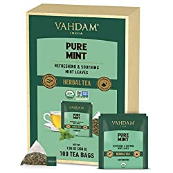 100 % REAL INGREDIENTS - Experience cups of minty fresh herbal tea with 100% natural Spearmint and Peppermint. This herbal tisane is sure to keep you refreshed 100 FULL-LEAF PYRAMID TEA BAGS - Gone are the days of paper tea bags that tear up in the b...