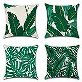 JOTOM Funda de Almohada de Lino de algodón Suave Cuadrada,Funda de cojín Decoración para Sofá,Hogar 45x45 cm, Juego de 4 (Hoja Verde)