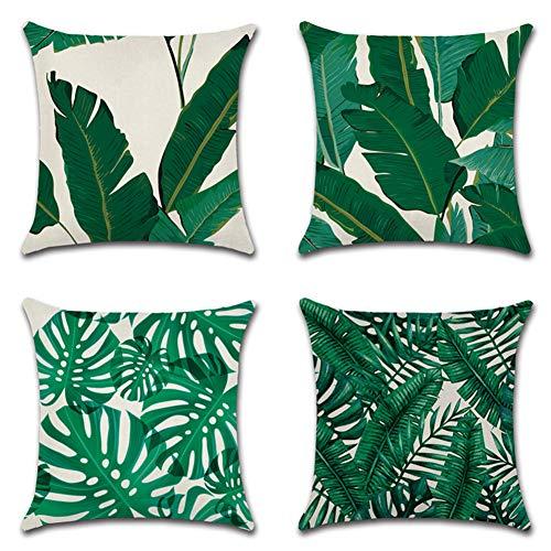 JOTOM Tropische Pflanzen Kissenbezug Blumen Grüner Bananenblätter Dekokissen Dschungel Kissen Fall 45x 45cm 4er Set (Grünes Blatt)