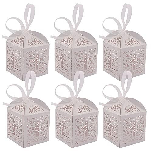 30 Piezas Cajas de Regalo de Cartón Blanco, Cajas de Papel para Dulces, Cajas Cuadradas de Papel para Dulces, Caja de Dulces, Caja de Dulces de Boda, para Dulces, Bodas, Cumpleaños, Navidad