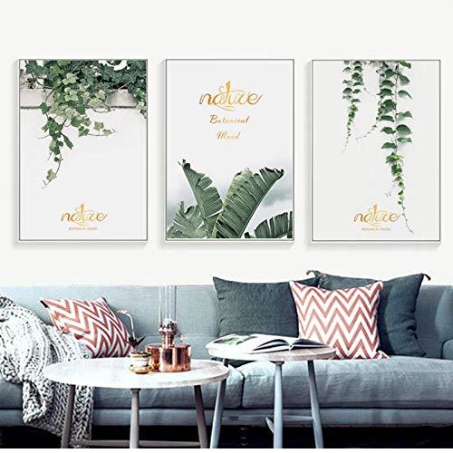 LLXHG groene wijnstok Verlaat gouden Engelse plantencombinatie linnen doek schilderij kunst abstract print-poster foto-wand Scandinavisch hoofddecoratie 30X40Cmx3Pcs niet-ingelijst