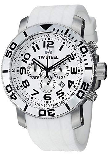 TW Steel TW95 - Reloj de Cuarzo Blanco con Correa de silicona (Cronógrafo, Cristal Mineral)