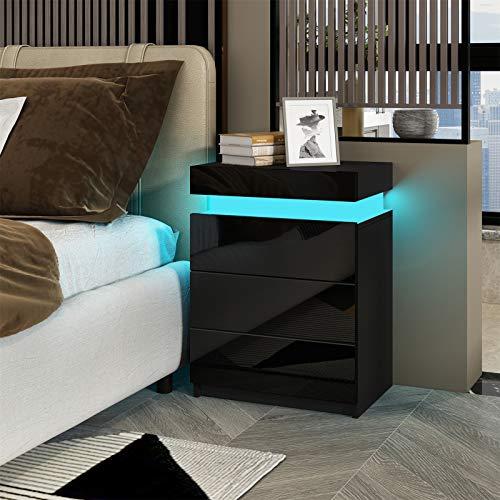 Senvoziii RGB LED Nachttisch Kommode Hochglanz mit 3 Schubladen Nachtschrank Beistelltisch für Schlafzimmer Wohnzimmer Wohnmöbel - Schwarz