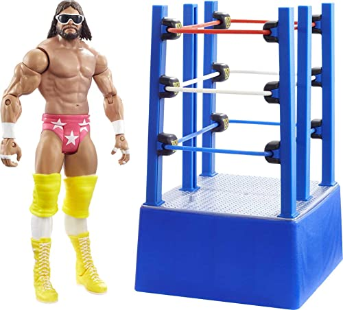 WWE Wrestlemania Moments Macho Man Randy Savage 6 inch Action Figure Ring Cart with Rolling WheelsCollectible Gift Fans Ages 6 Years Old and Up