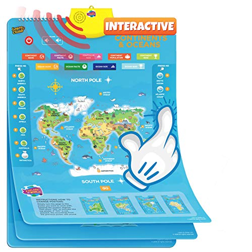 Interactive World Map for Kids - Set of 5 Electronic Talking Posters with Over 1000 Facts -NEW & REVISED 2021 MODEL