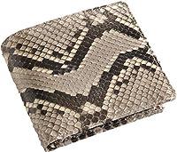 [ネコポスで発送] ヘビ パイソン 折り財布 二つ折り シャイニング加工 蛇革 メンズ : ナチュラル
