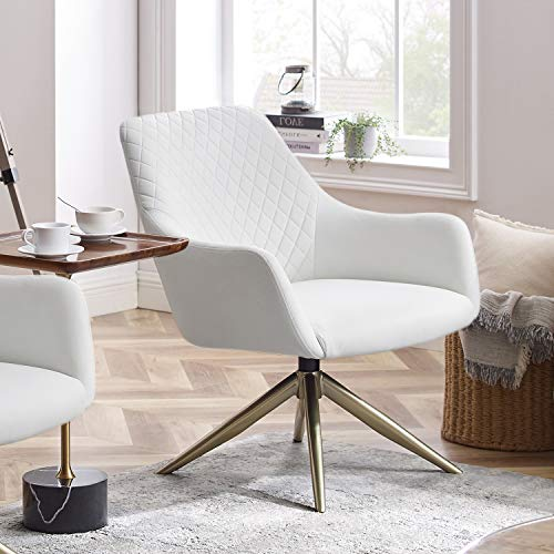 Art Leon Modern Upholstered Swivel Accent Chair with Arms for Small Spaces Home Office Living Room Bedroom, White