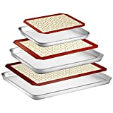 Wildone Baking Sheet with Silicone Mat Set, Set of 6 (3 Sheets + 3 Mats), Stainless Steel Cookie...