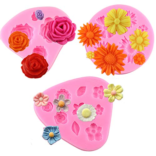 Mujiang Mini Flower Silicone Cake Fondant Molds 3 Pack Roses Flower Mold Daisy Flower Molds and Small Flower Molds
