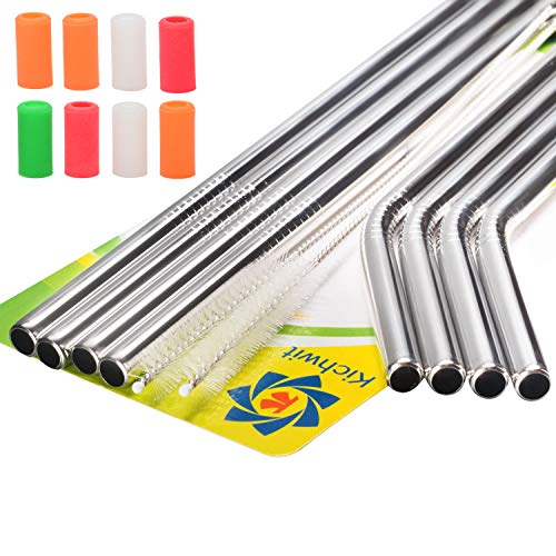 """Kichwit Extra Long Stainless Steel Straws Set of 8, Reusable Wide Straws for Smoothies, 10.5"""" Long, 5/16"""" Wide, Metal Drinking Straws, 2 Cleaning Brushes Included"""
