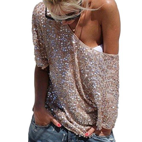 Fanmay Mode Damen T-Shirt Kurzarm Schulterfrei Pailletten Asymmetrisch Schlank Schöne Top Tops Langshirt Kurzarm Shirts Oberteil (XL, Apricot)