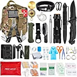 Aokiwo 200Pcs Emergency Survival Kit, Professional Survival Gear Tool First Aid Kit SOS Emergency with Molle Pouch for Camping Adventures (Army Green)