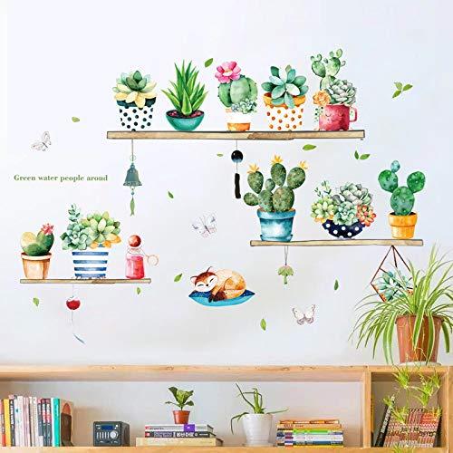 Adesivi Da Parete Murals Camera Plant Potted Wall Sticker Sewero Warm Creative Room Decorations Tv Sfondo Parete Stickerself