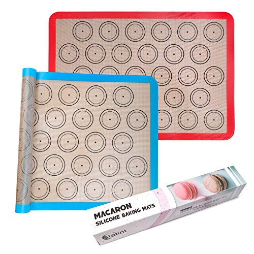 STATINT Silicone baking Mat, Non-Stick Food Safe Set of 2 Half Sheet Reusable Heat Resistant Liner for Macarons, Cookies, Pastries, Bread, Meat ,16.5' x 11.8'