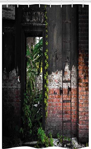 ABAKUHAUS industriell Schmaler Duschvorhang, Ziegel Pflanzen, Badezimmer Deko Set aus Stoff mit Haken, 120 x 180 cm, Mehrfarbig