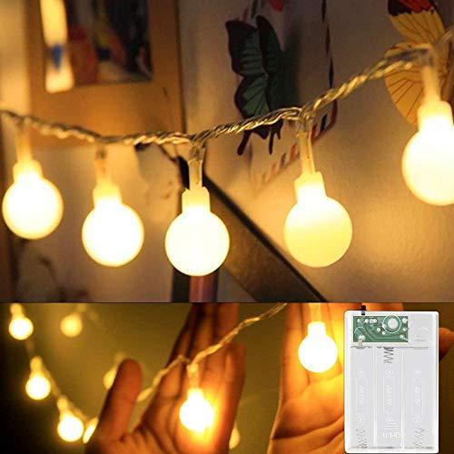 Se-Mirrorworld Catena luminosa con 80 LED, luce bianca calda, 10 m, a batteria, IP44, impermeabile, per Natale, matrimonio, festa, casa, giardino, balcone, terrazza bianco caldo