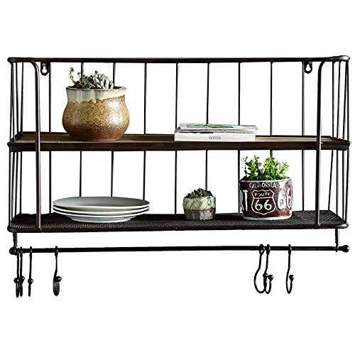 EMMA HOME DH® Regal Badezimmer Rack Retro Schmiedeeisen Massivholz Halterung Wand Partition Küche Viertel Regal Kaffeetasse Rack